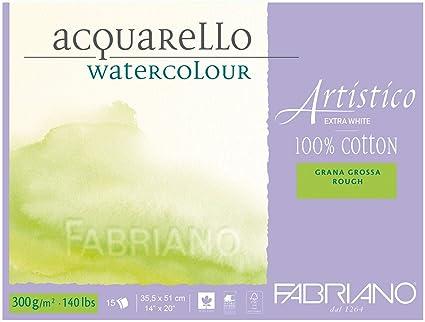 extra wei/ß hochwertiger K/ünstler - Aquarellkarton, Grobkorn, ca. 35,5 x 51 cm, 15 Blatt 300 g//m/² Honsell 323551 Fabriano Artistico Acquarello Watercolour