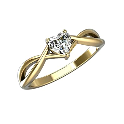 23174e84d4f2f Heart Shape Solitaire Diamond Engagemnt Rings in 14K Gold Wedding Band Engagement  Rings With 0.4 Ct Diamonds TCW  Amazon.co.uk  Jewellery