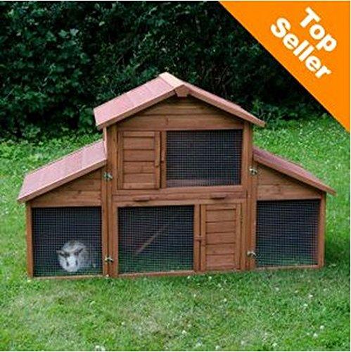 eCommerce Excellence Kaninchenstall, geräumig, mit großem Laufgehege, mit abnehmbaren Seiten, modular, ideal für den Außenbereich
