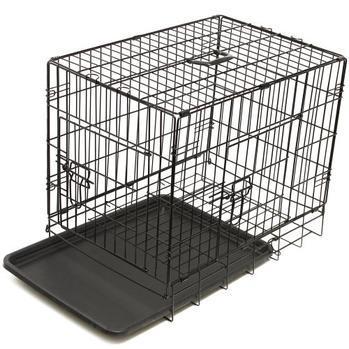 OxGord 42 Dog Crate with Divider, Double-Doors Folding Pet Cage with Metal Wires, Removable ABS Plastic Floor Tray, Carry Case with Handle XXL Extra Extra Large 42 x 27 x 30