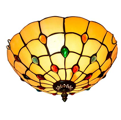 Amazon 12 Inch European Retro Style Tiffany Stained Glass Flush Mount Ceiling Light Dining Room LightE27110 240V Bulbs Not Included Home