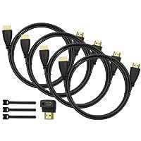 Perlegear HDMI Kabel 1.8m 4 Stücke für 4K Videowiedergabe, Full HD TV, 1080P, 3D, PS4, PS3, WII, Ethernet, Computer, Laptop, Arc mit 90 Grad Winkel HDMI Adapter