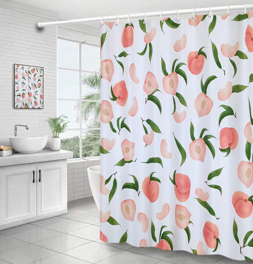 MoFCravy Peach Shower Curtain for Bathroom, Cute Fruit Shower Curtain Set with 12 Hooks, Colorful Shower Curtain Bathroom Decor of Waterproof Fabric Material, 72''×72'', Peachy Pink