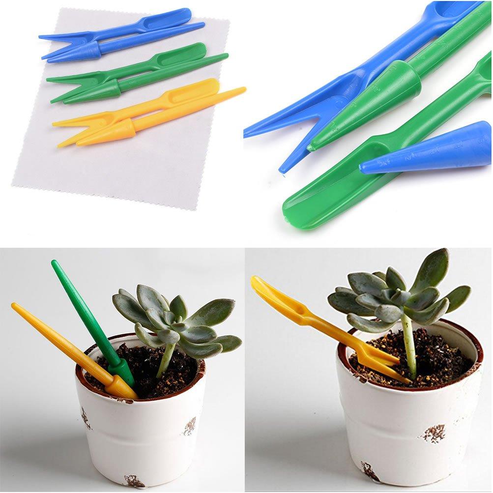 Generic transplantar suculentas Mini herramientas semillas plantadores Plus peque/ñas palas para trasplantar Seedling verde azul amarillo juego de 3