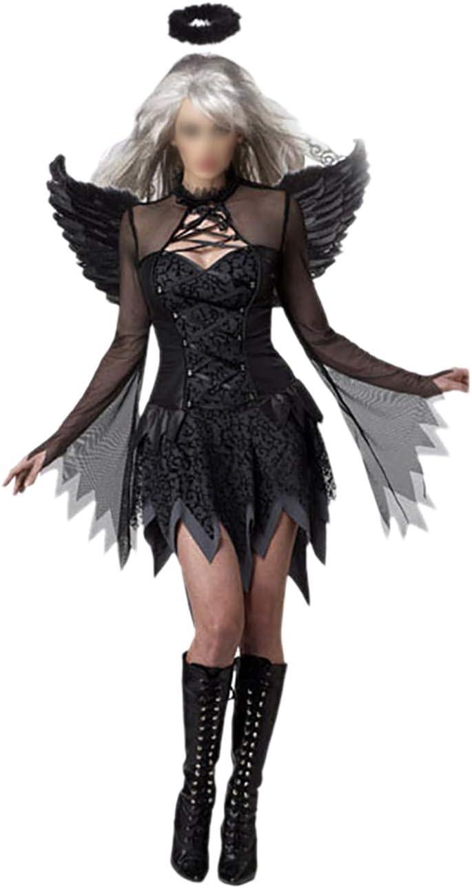 Feynman Mujer Negro Ángel Novia Vampiro Novela Disfraces Vestido Fiesta Halloween Negro XL