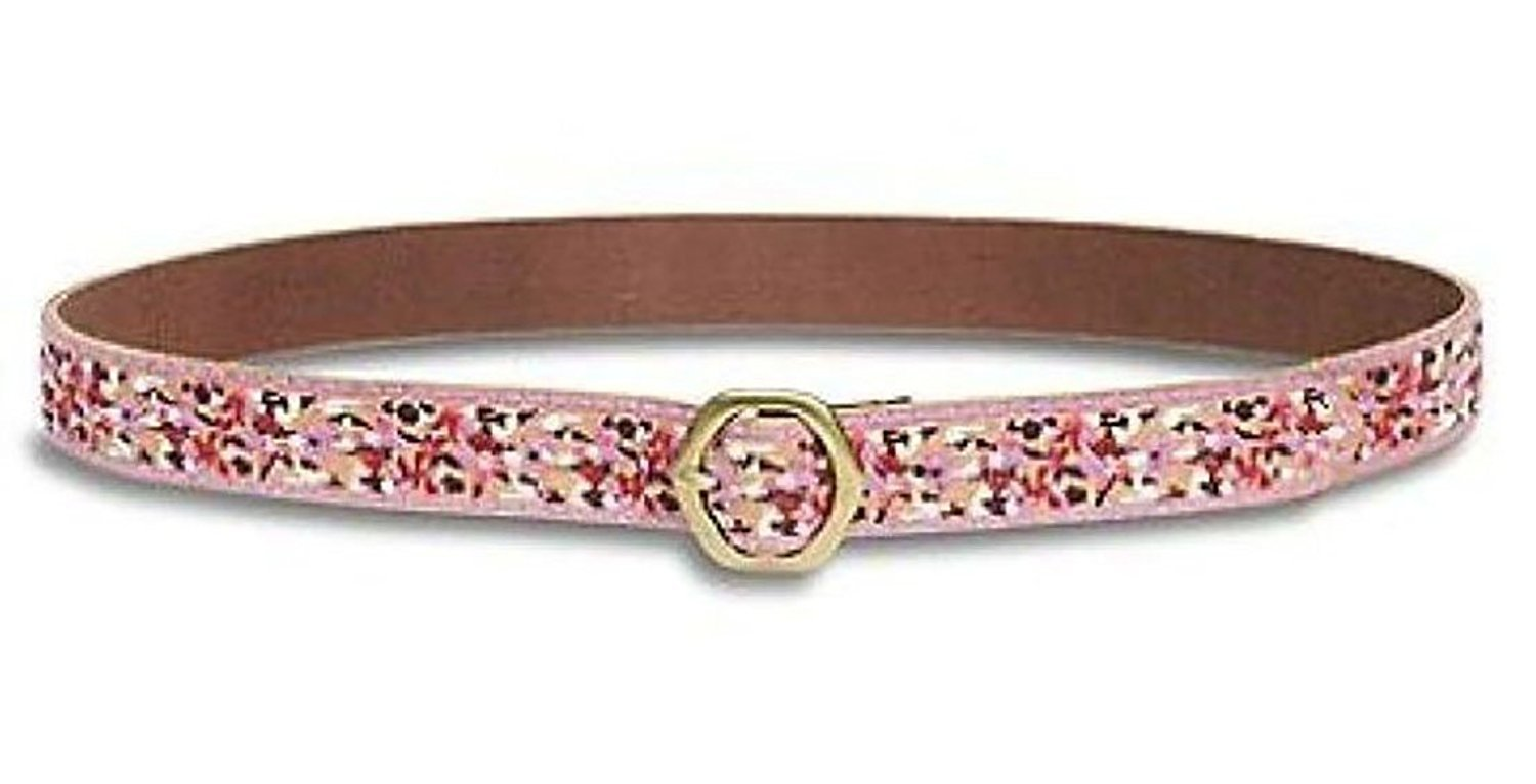 Lucky Brand - Women's - 1.5'' Pink Confetti Sunflower Mix Embroidered Leather Belt (Medium)