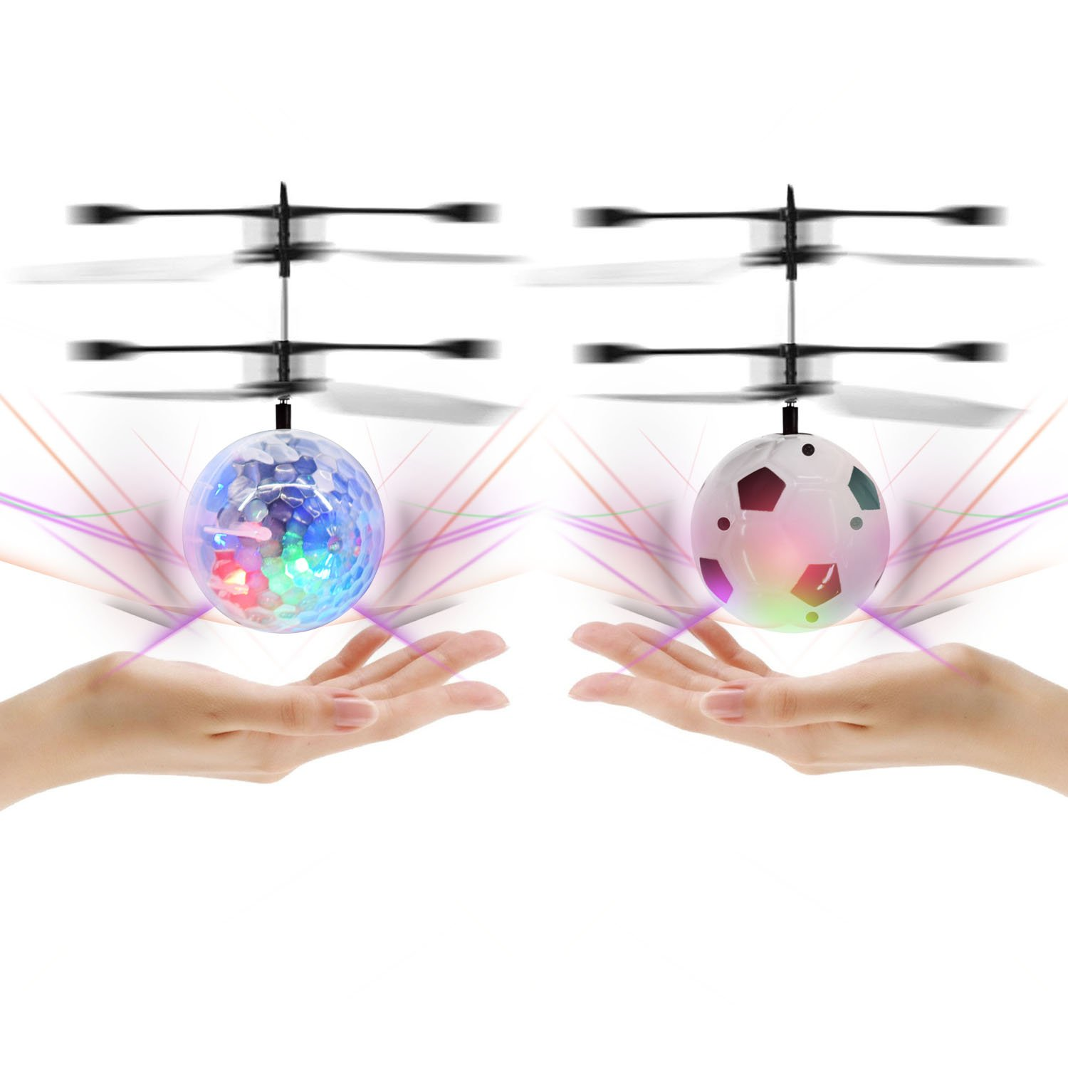 Racol RC Flyling Ball 2 Pack, RC Flying Toy Helicopter Drone Infrared Induction with Built-in Flashing LED Light Gifts for Boys Girls Teenagers Indoor and Outdoor Games
