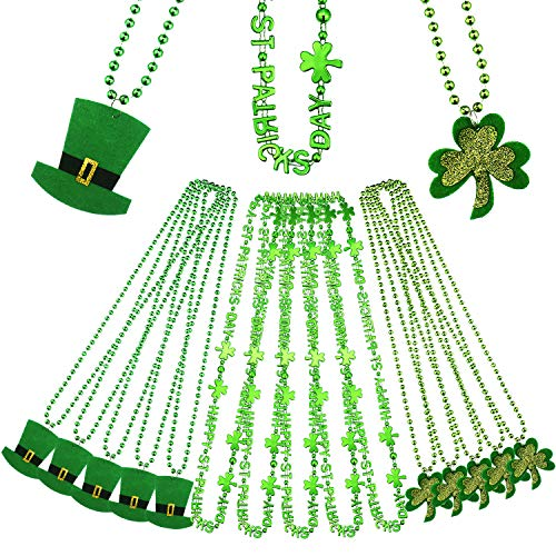 Zhanmai Saint Patrick Day Necklace Shamrock Ornament Necklace Green Beads Necklaces for Party Costume, 18 Pieces Totally