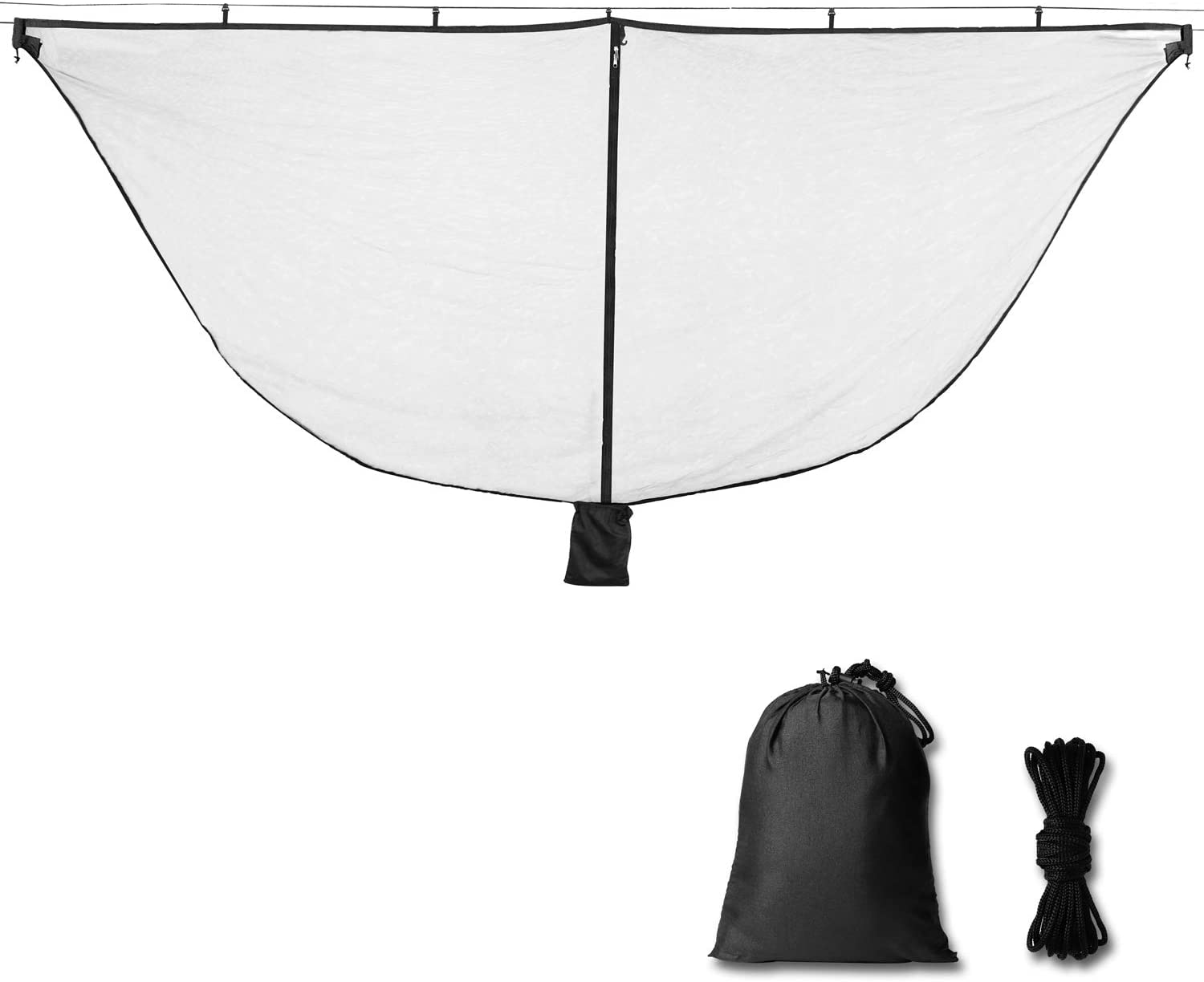 Alucky Hammock Net Camping Mosquito Net, No See Ums & Repels Insect, Polyester Netting for 360 Degree Protection, Double Sided Zipper for Easy Access Fits for All Camping Hammocks(Black: Sports & Outdoors