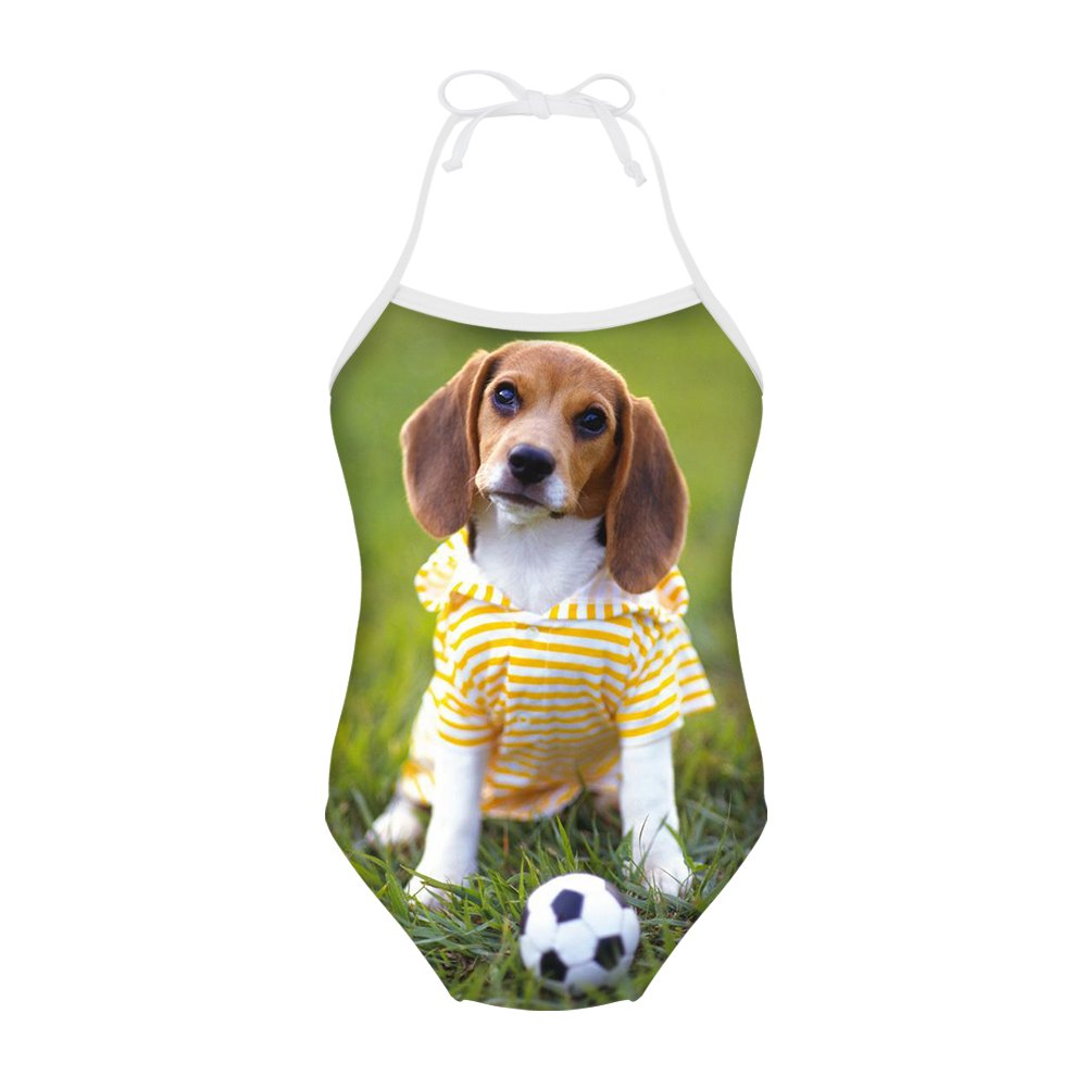 Sannovo Harrier Dog Print One Piece Animal Swimsuit for Girl Adorable Bathing Suit 7T-8T