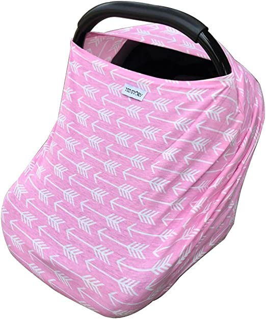 Baby carseat cover  Baby carseat canopy  gray and light pink colors with 3 bows for baby girl