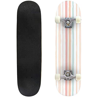 Classic Concave Skateboard Hand Drawn Striped Pattern Pink Girly Stripe Seamless Background for Longboard Maple Deck Extreme Sports and Outdoors Double Kick Trick for Beginners and Professionals : Sports & Outdoors