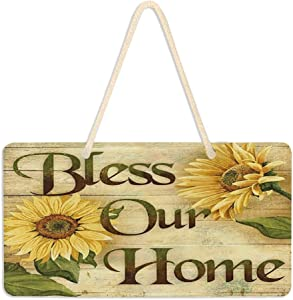 Vintage Sunflowers Welcome Door Sign Bless Our Home Wall Sign with Hanging String Rustic Wood Decorations For Home Front Door Farmhouse Porch Garden Yard Sign 6