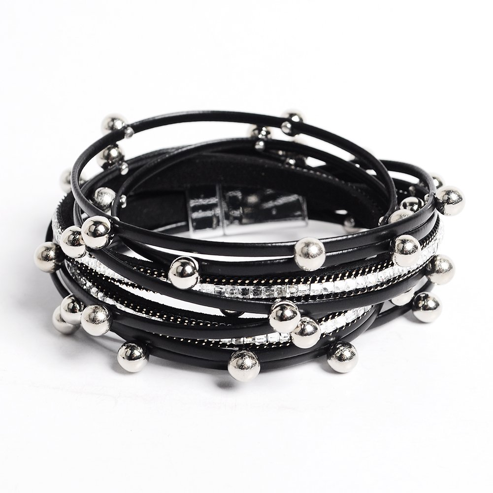 Artilady wrap Clasp Bangle Women (Black Beads)