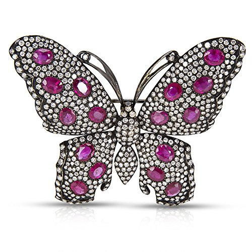 (BRAND NEW IGL Certified Diamond & Ruby Butterfly Brooch in 18k WG (6.25 CTW))
