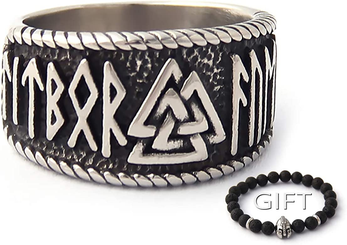 ENXICO Valknut Symbol Ring with Rune Letters 316L Stainless Steel Norse Scandinavian Viking Jewelry