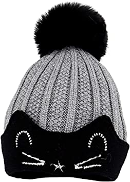 FVAL Childrens Wool Cap Baby Ball Baby Knit Cap Plush Ball Ears Toddlers Winter Warm Double Pompom CapHat Kids Boy Girl Hats