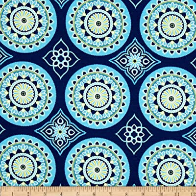 Terrasol Indoor/Outdoor Sundial Navy Fabric By The Yard