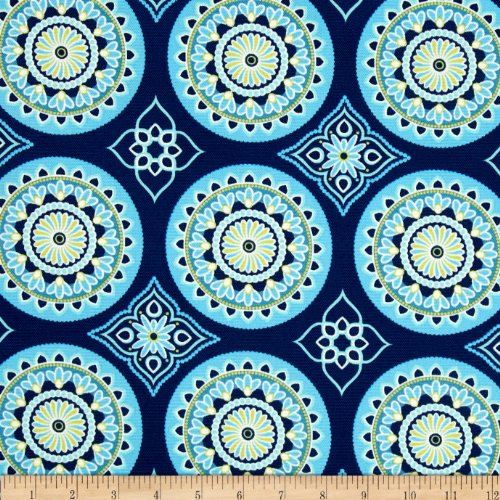 Tempo Fabric 0332789 Terrasol Indoor/Outdoor Sundial Navy Fabric by The Yard