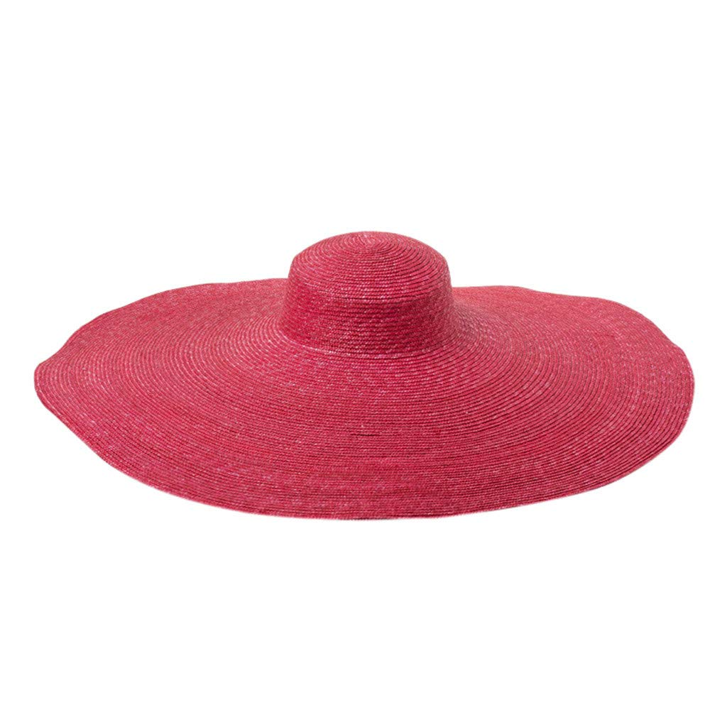 LowProfile Women Straw Super Huge Wide Floppy Hat X Large Brim Hat Floppy Roll up Sun Beach Hat Vintage Derby Hat(dm:70cm) (Red) by LowProfile