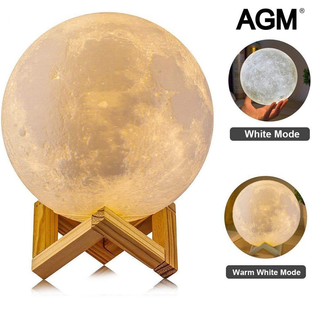 Lámpara Luna 3D, AGM LED Luz Nocturna, Lámpara de Noche 15cm ...
