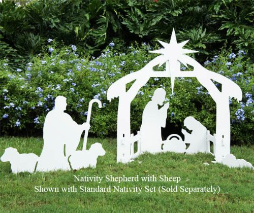 Teak Isle Christmas Outdoor Nativity Shepherd with Sheep Figure