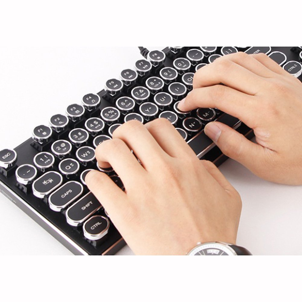 (ABKO) K830 Aluminum Retro Circle Keycap White LED Ten-keyless Mechanical KeyBoard Gaming Keyboard English Korean Layout 104 Keys