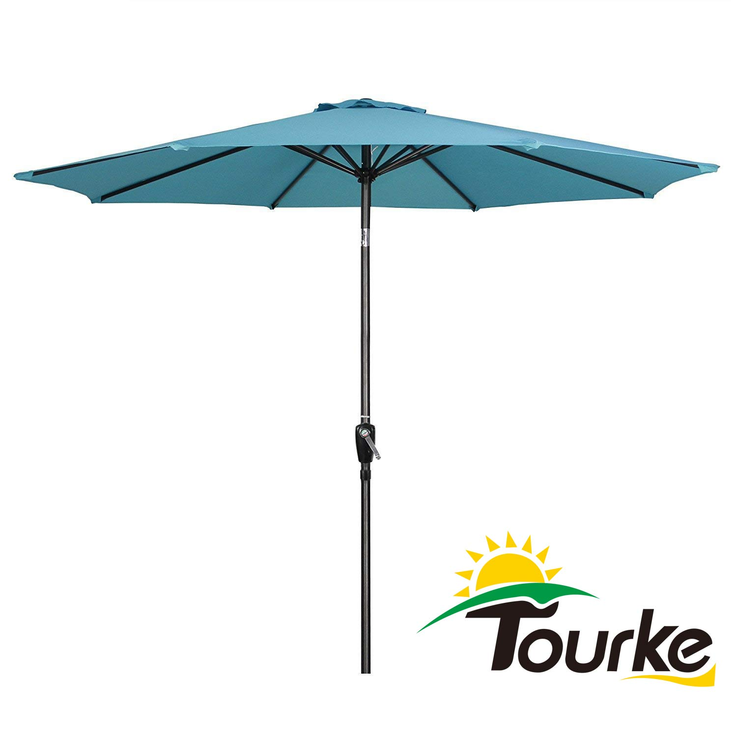 Tourke 9 Ft Patio Umbrella Outdoor Table Umbrella Crank, 8 Rids, Push Button Tilt,for Garden, Deck, Backyard, Swimming Pool and More (Sky Blue) by Tourke