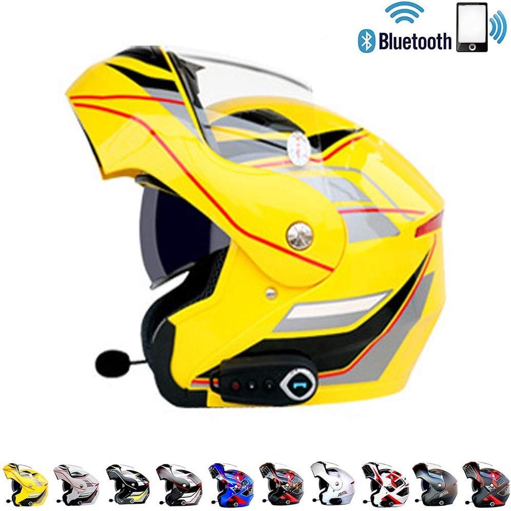 YIBEN Bluetooth Integrado Modular Casco,de la Motocicleta ECE 22.05 certificaci/ón Dot Seguridad est/ándar-Cara Completa Racing Casco de la,D,L