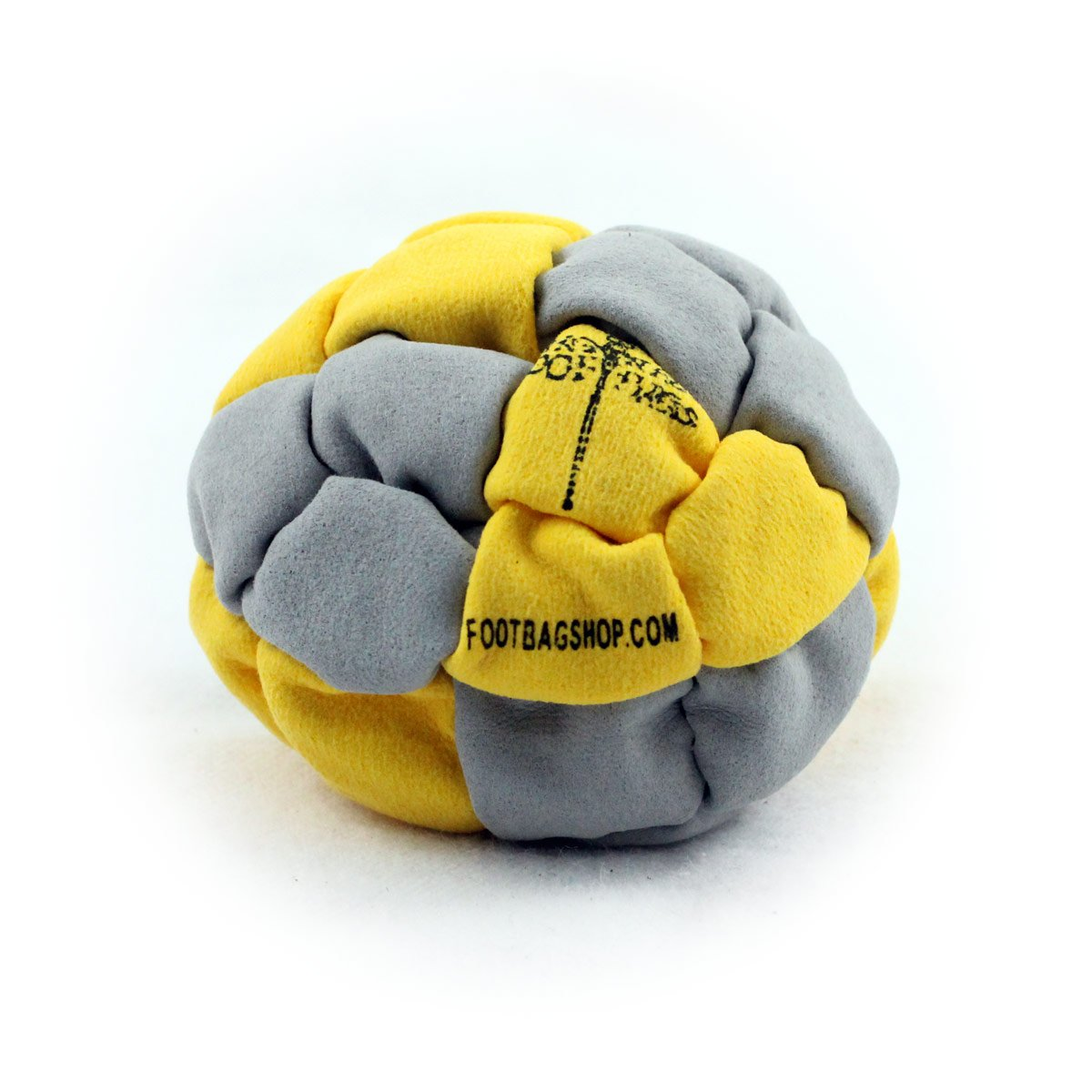 Dragonfly Footbags Yellow and Grey Clipper 24 Panel Metal Filled (Hacky Sack)
