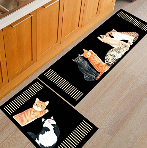 Z&L Home NonSlip Kitchen Mats and Rugs Cats Black Indoor Floor Area Rug Low Profile Absorbent Runner for Home Bathroom Bath Bedroom