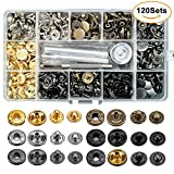 #3: 120 Sets Snap Fasteners Kit, 6 Color Metal Snap Buttons Press Studs with 4 Pieces Fixing Tools, Clothing Snaps Kit for Leather, Coat, Down Jacket, Jeans Wear and Bags