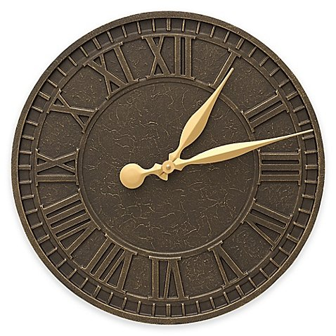 Whitehall Products 16-Inch Geneva Indoor/Outdoor Wall Clock in French Bronze by Whitehall