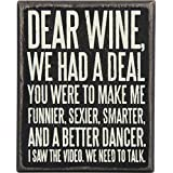 Primitives By Kathy - Delantal para Beber, Dear Wine, 4 x 5-Inches, 1