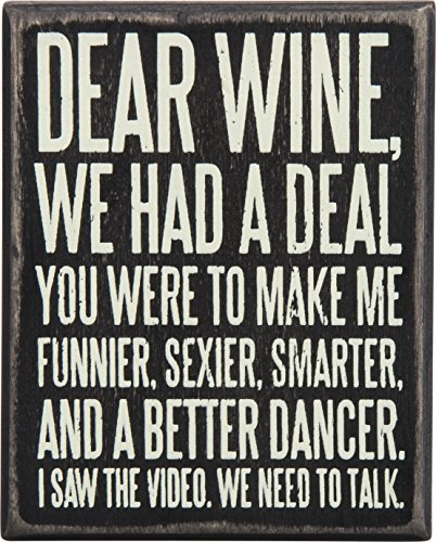 "Primitives by Kathy 27179 Box Sign, 4"" x 5"", Dear Wine…"