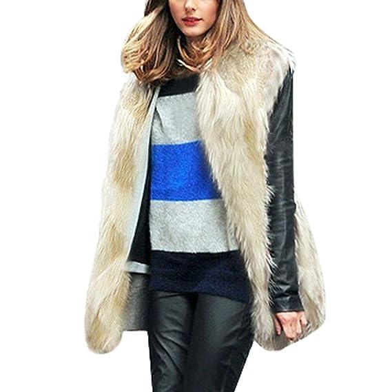 Koly_Chaleco de Pelo Mujer Modelo Medio y Largo Sin Cuello Sobretodo Chaqueta de Pelos Vest Pelo