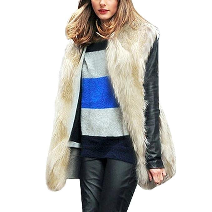 Koly Chaleco de Pelo Mujer Modelo Medio y Largo Sin Cuello Sobretodo  Chaqueta de Pelos Vest Pelo 618389790aab