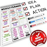 Weekly Magnetic Meal Planner for Refrigerator and Week Whiteboard Calendar for Fridge - Magnetic To Do List Board Set for Kitchen Fridge / Magnetic Shopping List Pad for Fridge with Colorful Markers