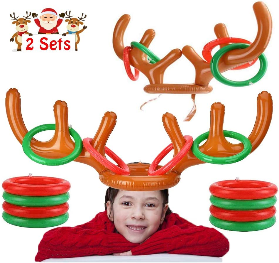 2Pack Inflatable Reindeer Ring Toss Game for Christmas Holiday Party, Xmas Party, Favors Supplies Outdoor Indoor Ring Toss Game (2 Antlers & 8 Rings)