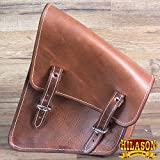 HILASON RUSTIC VINTAGE LEATHER SOFTAIL RIGID LEFT SIDE SADDLE BAG LIGHT OIL