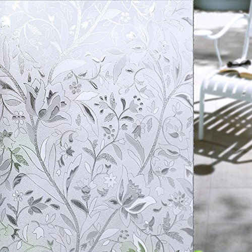 OMG_Shop 45x100cm Waterproof Frosted Privacy Flowers Decorative Film 3D Static Cling Tulip Window Glass Films Sticker No Glue Film Self Adhesive-100cm