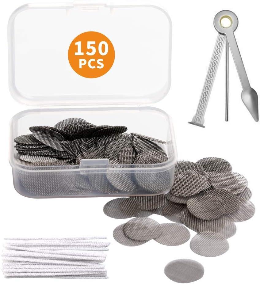 150 Piezas de Filtros de Pipa de Fumar Acero Inoxidable Pantalla 15 mm con Caja de Almacenaje