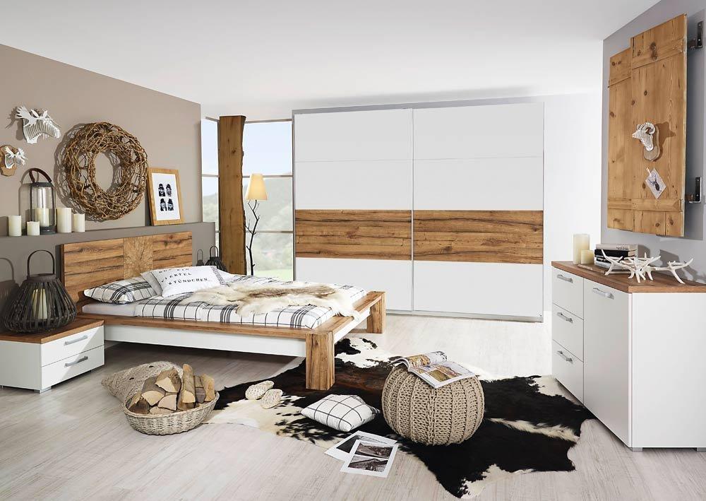 4-tlg. Schlafzimmer in alpinweiß mit Abs. in Wildeiche-NB, 2-trg. Schwebetürenschrank B: 225 cm, Bett B: 210 cm, 2 Nachtschränke B: je 55 cm
