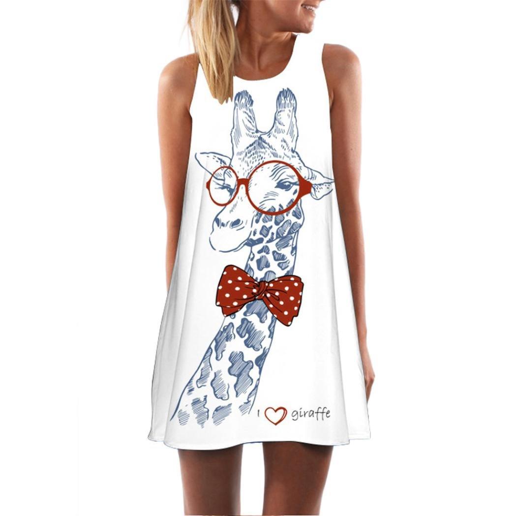 Challyhope Mini Dress, Women Summer Casual Cute Giraffe Printed Dress Loose Straight Tunic Dress (L, White)