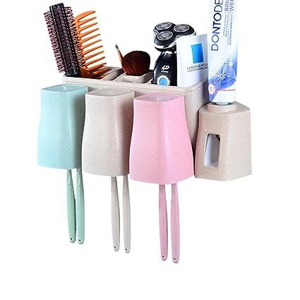 Umiwe Juego de porta cepillos de dientes, dispensador automático de pasta de dientes