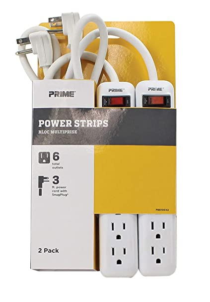 Excellent Amazon Com Prime Wire Cable Pb8100X2 6 Outlet Power Strips With 3 Wiring Database Rimengelartorg