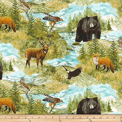 Northcott Fabric Flannel (Northcott Mountain Springs Flannel Animals Multi Fabric, Green, Fabric By The Yard)