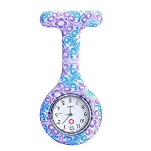 JSDDE Women's Girls' Fashion Floral Nurse Clip-on Fob Brooch Silicone Jelly Hanging Pocket Watch