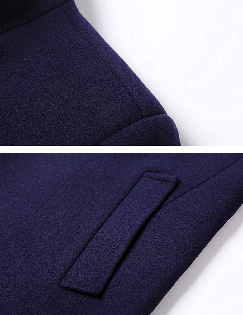 Mordenmiss Mens Premium Pea Coat Double Breasted Woolen Notched Collar Overcoat