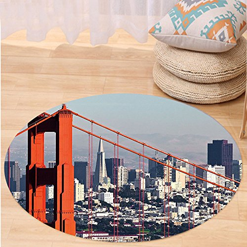 Kisscase Custom carpetUnited States San Francisco Bridge and Cityscape Metropolis Financial District for Bedroom Living Room Dorm Orange Baby Blue (Custom Made Costumes San Francisco)